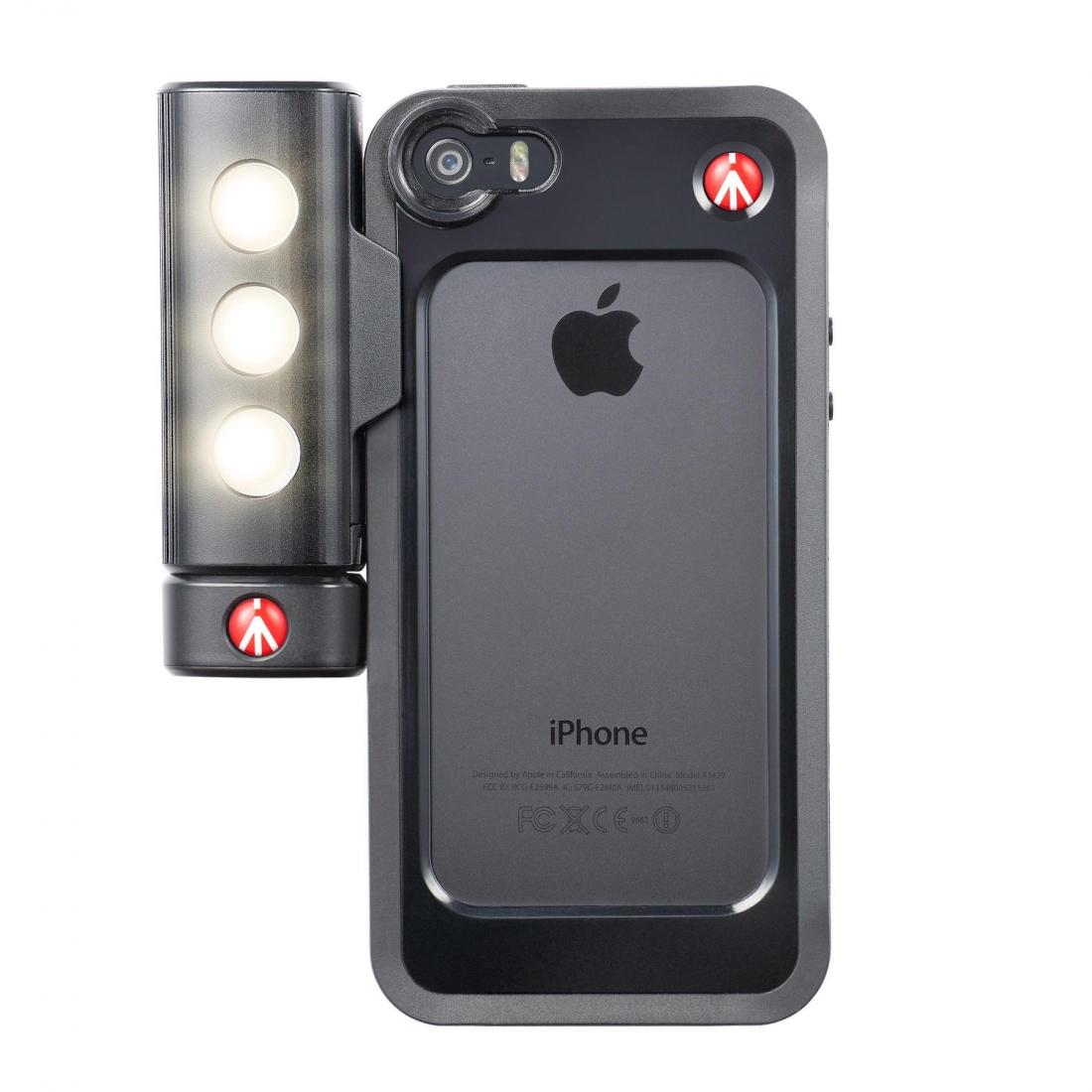 Luce Led Dannosa.Manfrotto Mklklyp5s Kit Per Iphone 5 5s Con Luce Led E Bumper Nero